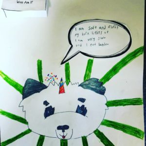 panda with rainbow horn and speech balloon